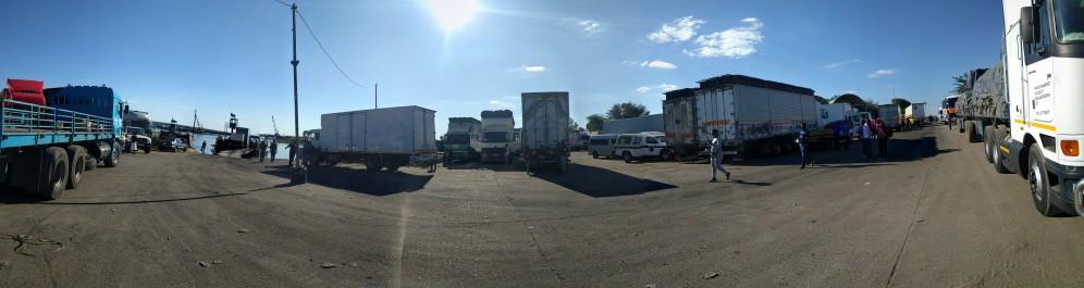 Ferry dock with trucks awaiting passage