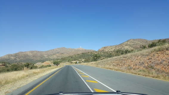Communication tower high above the road to Keetmanshoop.