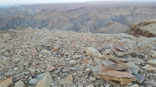 Rock piles at the edge of the world